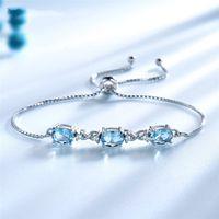 925 Sterling Silver Tennis Bracelet link chain Fashion Nano Sky Blue Topaz Adjustable Temperament Light Luxury Hand Jewelry