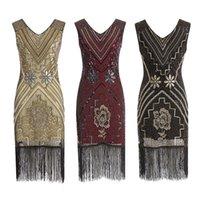 Kadınlar 1920'ler Flapper Elbise Gatsby Vintage Artı Boyutu Kükreyen 20 S Kostüm Elbiseler Parti Balo Casual Için Fringed