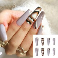 Nail Art Kits False Nails Stripe Love Heart Designs Long Coffin Ballerina Fake Press On With Glue Manicure Artificial Tips