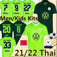 2021 2022 VFL Wolfsburg Soccer Jerseys Goghorst Steffen Brekalo 21/22 Camisa de fútbol Arnold Xaver Mbabu Guilavogui Mehmedi Roussillon Hombres + Kit Kit Uniformes