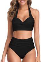 Women's Swimwear Women Vintage Swimsuit Two Piece Retro Halter Ruched High Waist Bikini Bathing Suit Designer