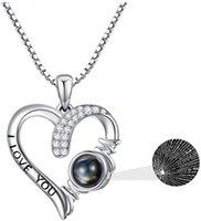 925 sterling sier I Love You 100 languag infinity heart sunflower rose flower pendant necklace for women