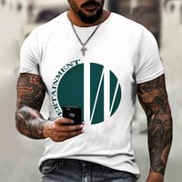 Men's T-Shirts Fashion Simple Line Independent Design 3D Printing Round Neck T-shirt Loose Casual Street Cool Soft Shirt
