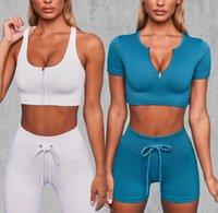 Designer Yoga Sportswear Trainingsanzüge Fitness 2 stücke Shorts Crop Top Leggings Outwork Sets Outfits Sport BH Anzug Kleidung Anpassbare YOGAWORLD Richten Sie die Pant Casual
