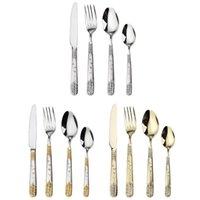 Forks Gold Cutlery Stainless Steel Flatware Set Tableware Dinnerware Knife Spoon Fork 4 Pcs  set Home