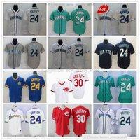 2021-22 남자 여성 청소년 빈티지 야구 유니폼 24 Ken Griffey JR 스티치 그린 2016th 명예의 전당 Reds 시애틀 30 저지