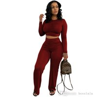 Women Spring Fall Tracksuits Casual Two Piece Sets Womens Outfits Slim Pleated T-shirt Wide Leg Pants Suit Plus Size Clothing L029
