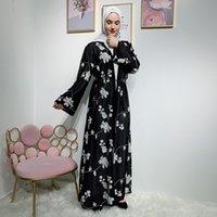 Etnik Şifon Dubai Abaya Kimono İslam Müslüman Başörtüsü Elbise Abayas Kadınlar için Kaftan Kaftan Marocain Türk İslam Giyim Robe Coat