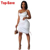 Casual Dresses Vintage Women Pleated Dress Solid Zipper Mini Sexy Silk Backless Clothing Plus Size Spaghetti Strap Evening Party Vestidos