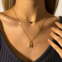 Pendant Necklaces Boho Heart-shaped Padlock Long Chain Necklace Lady Vintage Gold Metal Fashion Glamour Couple Girl Jewelry Gift