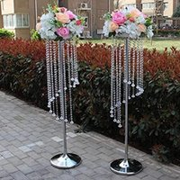 Candle Holders Tall Wedding Flower Chandeliers Crystal Stand With Acrylic Bead Pendants For Table Centerpiece Marriage Event