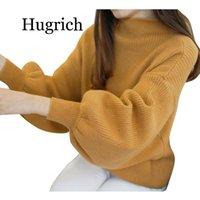 Sweater Woman Winter 2021 Women Lantern Sleeve Knit Jumper Loose High Neck Womens Turtleneck Outwear Top Blouse Women's Sweaters