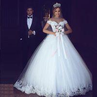 Off Shoulder Ball Gown Wedding Dresses Lace Appliques Arabic Dubai Bridal Gowns White Tulle Country Vestido De Novia