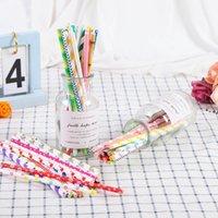 Fruchtsaft Getränke Umweltfreundlich Biologisch abbaubare Papier Strohhalme Bunte Punkt Hochzeit Kinder Geburtstag Party Dekoration HHA7726