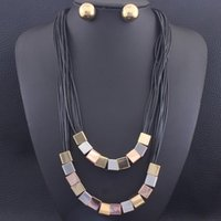 Earrings & Necklace 55CM Long Chains Sweater Square Stud Fashion Stainless Steel Jewelry Sets For Women SEDZCGDI