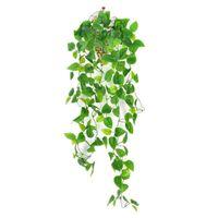 Faux Greenery Künstliche Hängende Pflanzen Fake Scindapsus Efeu Vine Blätter Wandhaus Zimmer Terrasse Indoor Outdoor Decor 1m / 39in XBJK2107