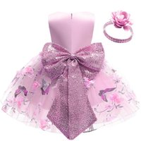 Girls Dresses Children Clothing Kids Clothes 1st Birthday Dress For Baby Girl Princess Print Skirt Flower Sequin Bows Headbands 2Pcs B8533