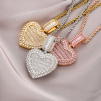 18k Gold Heart Necklace Locket Bling Cubic Zircon Jewelry Set Photo Frame Openable Love Diamond Hip Hop Necklaces Women Girl Gift Fashion Will and Sandy Dropship
