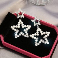 70%OFF S925 silver needle fashion pearl stud five pointed star Pendant Earrings New Classic versatile 2KHQ