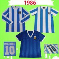 # 10 Maradona 1986 Argentina Retro Futebol Jerseys Kempes Caniggia 86 Camisas de futebol Vintage Clássico Casa Azul Camisetas de Futbol