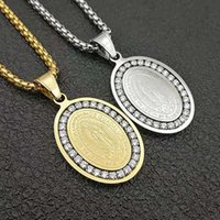 Pendant Necklaces Hip Hop CZ Cubic Zirconia Gold Color Stainless Steel Virgin Mary Oval Pendants Necklace For Men Women Jewelry Drop