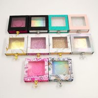 Eyelash Packaging Box Crystal Handle Square Lash Boxes for 25mm Mink False Eyelashes Empty Money Marble Lashes package