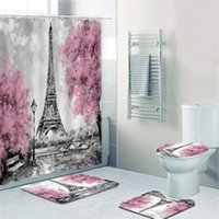 Shower Curtains Stylish Pink Paris Tower Oil Painting Curtain And Bath Rug Set 3D France City Landscape Bathroom Mats For Toilet