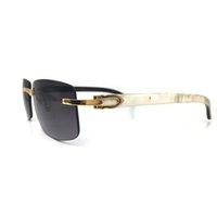 Horn Signature Designer Buffs Wood Brand Avdpc Cariter Men White Black Buffalo Frames Sunglass Wooden Glasses Eyewear Sunglasses Eattk