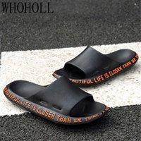 Summer Men Slippers Casual Black White Shoes Non-slip Slides Bathroom Sandals Soft Sole Women Slides Plus Size 47 210908
