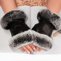 Luxury brand leather gloves and wool touch screen rabbit skin cold resistant warm sheepskin parting finger