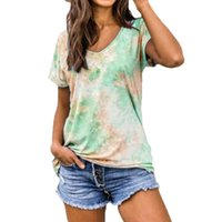 Women's T-Shirt Tie-Dye Printed Shallow Rolled Sleeve Pullover Summer Casual Style Top T-Shirts