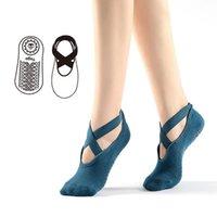 Women Cotton Yoga Socks Professional Anti-Slip Sport Bandage Sports Girls Ballet Dance Socks For 35-39 yards 2021