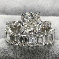 Kare Prenses Kesim CZ Düğün Parmak Yüzük Set Kadınlar Için Moda Nişan Tam Elmas Kübik Zirkon Band Yüzük Eternity Vintage Takı Aksesuarları Hediye