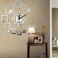 Wall Clocks Creative Mirror Clock Square 3D Stereo Acrylic DIY Living Room Decoration Home Decor Accessories