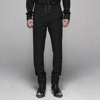 Hermosa noche club de fiesta hombre formal floral para hombre pantalones de metal gótico de metal de hombre traje negro pantalones punk rave