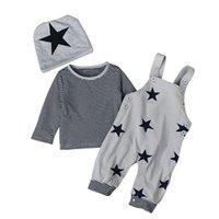 Baby 6m a 3 años de manga larga conjuntos de estrellas, ropa de primavera de niños / niñas, (sombrero + camisa + pantalones de suspensión), ropa boutique de otoño, 756 S2