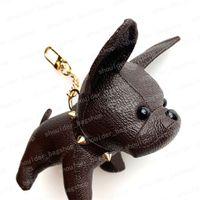 2021 Keychain Bulldog Catena chiave Brown Flower Pelle Uomo Donne Borse Borse Borse Accessori per bagagli Amanti Pendente auto 7 colori con scatola 9419 12x13x5cm # Dog-01