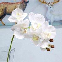 Seta Artificiale Artificiale Orchid Fiore Bouquet Fiore Phalaenopsis Fake Home Decorazione di cerimonia nuziale FAI DA TE Artigianato Decor Decorative Flowers Wreaths