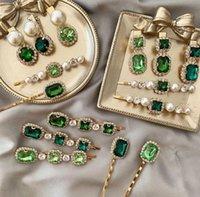12 styles Korea Vintage Emerald hair pins Geometrical Rhinestones hair clip For Women Girls hair accessories Barrette