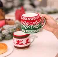 Christmas Decoration for Home Mug Cover Xmas Tree Snowflake Elk Knitted Bottle Cup Covers New Year Party Table Decor SN3161