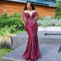 Arabic Burgundy Sparkly Sexy Evening Dress Sheer Neck Beaded Mermaid Prom Dresses Formal Party Bridesmaid Gowns robe de soiree