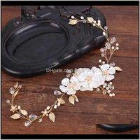 Clipes barrettes drop entrega 2021 Tuanming 1 pc acessórios de casamento folha de ouro cristal bride coroa tiara flor princesa headbands