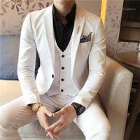 2020 Classic Slim Fit Men Suit 3 Piece White Formal Groom Tuxedo Men Wedding Suits Set Business Work Wear Man Jacket Vest Pants1