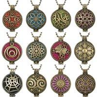 Anhänger Halsketten Aroma Diffusor Halskette Vintage Bronze Öffnen Sie Regulanzen Anhänger Parfümöl mit 10 stücke Pads