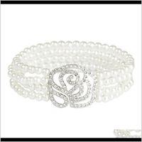 Other Bracelets Jewelry Drop Delivery 2021 Pearl Rose Alloy Full Set Diamond Elastic Multi Row Ladys Braceletcvjz Guzrc