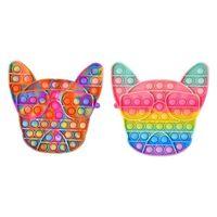 Tie Rainbow Bull Terrier Gamepad Dos Desenhos Animados Forma Fidget Board Jogo Poo-Seus Brinquedos Push Pop Bubble Popper Chaveiro Anel Educacional Presente Educacional Crianças Brinquedo de Natal G83ZB6L