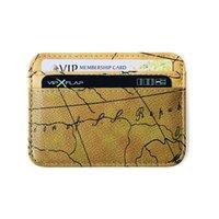 Dünya Haritası Vintage Fonksiyonu Kredi Kartvizitlik Pasaport Kapak RFID Banka Depolama Organizatör Ince Çanta PU Deri Cüzdan