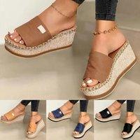 Mulheres Mulheres Sapatos Wedge Chinelos Plataforma Flip Flops Soft Confortável 2021 Casual Sho Outdoor Beach Sandálias Senhoras Slide