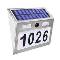 ديكورات الحديقة الشمسية رقم المنزل مع 7 المصابيح ضوء استشعار الحركة الفولاذ المقاوم للصدأ ذكي
