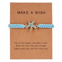 Moda Dolphin Heart Blue Brayed Cadena de la cuerda Pulseras para las mujeres Turquesa Turtle Cinco estrella Infinity Charm Bangle Tarjeta Joyería Regalo 312 G2
